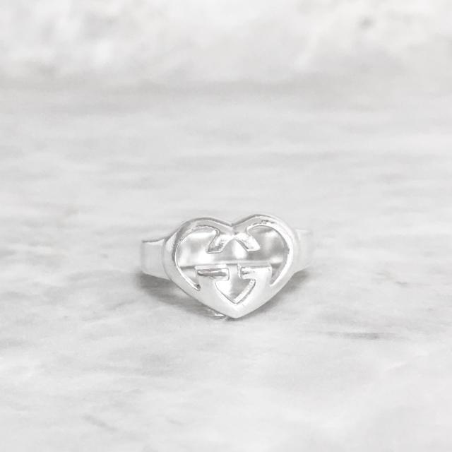 Gucci - 正規品 グッチ 指輪 シルバー ハート SV925 GG ロゴ 銀 リングの通販