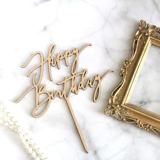 ◉即納◉木製 ケーキトッパー Happy Birthday⑷ 誕生日ケーキ
