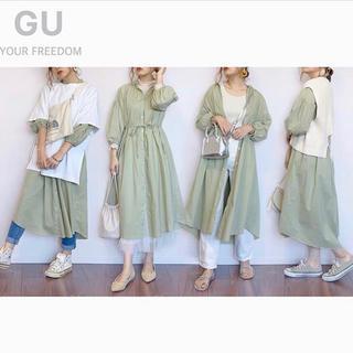 ジーユー(GU)の[新品][GU]ジーユー バンドカラーギャザーワンピース(7分袖) XSサイズ(ロングワンピース/マキシワンピース)