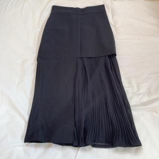 【美品】韓国 タイトスカート ブラック プリーツ(ひざ丈スカート)