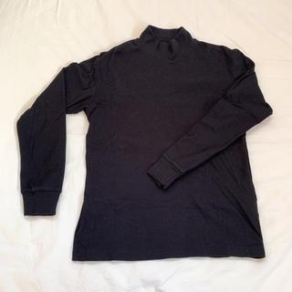 ユニクロ(UNIQLO)の【美品】UNIQLO メンズ ハイネック 長袖 Tシャツ ブラック(Tシャツ/カットソー(七分/長袖))