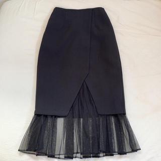 【美品】スカート チュール ブラック 韓国(ひざ丈スカート)
