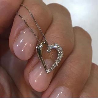 美品 k18WG ダイヤモンドハートネックレス  ホワイトゴールド(ネックレス)