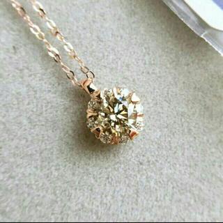 美品 鑑定書つき k18PG ダイヤモンドネックレス ピンクゴールド(ネックレス)