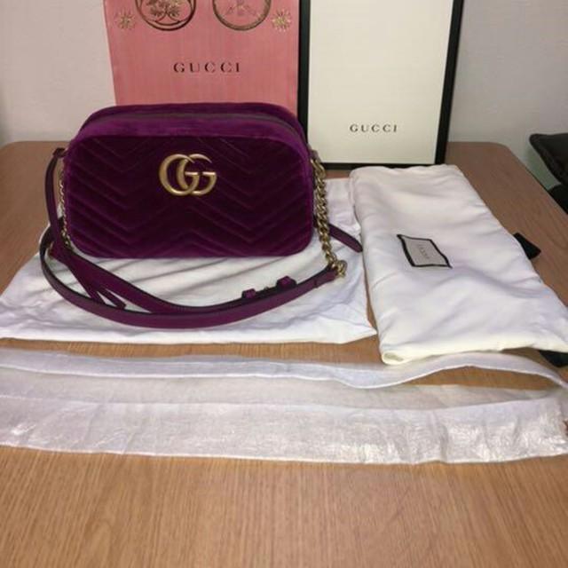 Gucci - GUCCI グッチ GGマーモント チェーン ショルダー バッグ ベルベットの通販