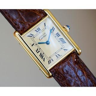 カルティエ(Cartier)の美品 カルティエ マスト タンク アイボリー 手巻き LM Cartier(腕時計(アナログ))