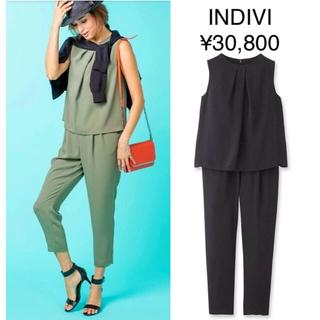 INDIVI - 美品 INDIVI テーパードオールインワン 黒 38 ¥30,800