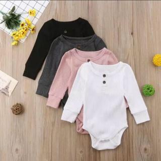 【大人気!再入荷!】新品未使用 韓国子供服 リブロンパース 70cm 赤ちゃん(ロンパース)