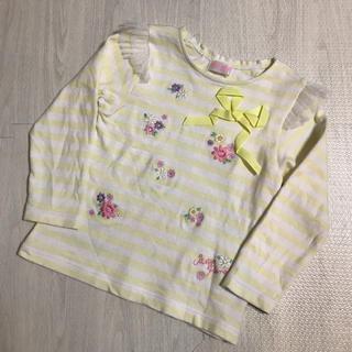 メゾピアノ(mezzo piano)のメゾピアノ 今季 春物 お花刺しゅう ボーダー Tシャツ 110(Tシャツ/カットソー)