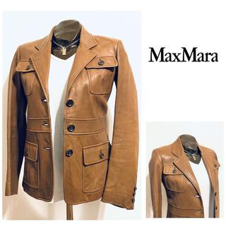 マックスマーラ(Max Mara)の【値下げ!】マックスマーラ ラムレザージャケット ブラウン(テーラードジャケット)