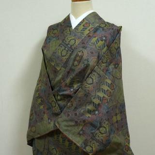 緑と紫の幾何学柄 織りの小紋(着物)
