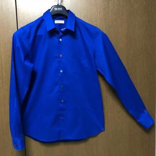 ブラウニー(BROWNY)の長袖Yシャツ 鮮やかなブルー サイズL  ボタンが1つ1つ色違い(シャツ)