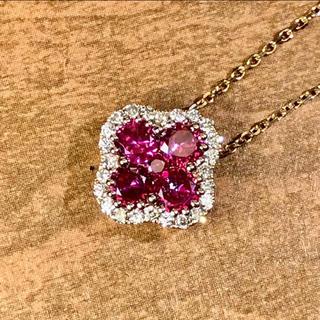 美品 k18YG ルビー ダイヤモンド ネックレス (ネックレス)