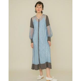 ファーファー(fur fur)のファーファー レースガウンワンピース ドレス ブルー(ロングドレス)