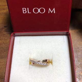 ブルーム(BLOOM)の美品 BLOOM ピンクゴールド ダブルループ ハーフエタニティ クロス リング(リング(指輪))