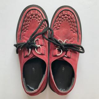 ジョージコックス(GEORGE COX)のラバーソール ジョージコックス ワインレッド スウェード 24.5cm(ローファー/革靴)