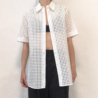 DRIES VAN NOTEN - CELINE セリーヌ フィービー シャツ 半袖 カットワークレース ホワイト