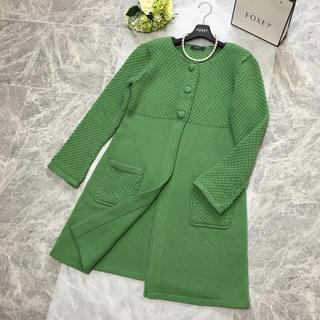フォクシー(FOXEY)の美品 定価13.6万円 フォクシー FOXEY  ニット コート グリーン 春(ロングコート)