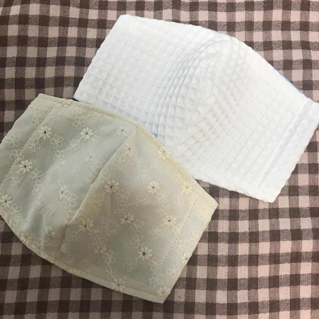 マスク 立体 型紙 | インナーマスク 立体型 大人用 コットンレース2枚組の通販