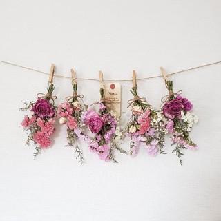 特大ボリューム1輪バラとピンク系小花のドライフラワースワッグガーランド(ドライフラワー)
