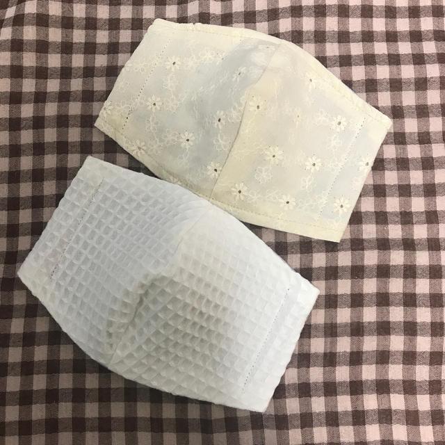 ガーゼマスク作り方立体あさイチ | インナーマスク 立体型 大人用 コットンレース/ワッフル/2種セットの通販
