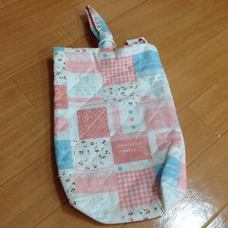 上履き入れ 上履き袋 ハンドメイド風 女の子 ピンク 幼稚園 入園準備(バッグ/レッスンバッグ)