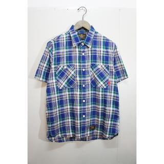 ダブルタップス(W)taps)のWTAPS ダブルタップス  チェック 半袖シャツ 緑506J▲(Tシャツ/カットソー(半袖/袖なし))