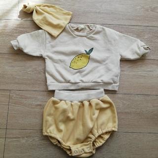 韓国子供服 BEBEHOLIC レモン柄 セットアップ キッズトレーナー ベビー(ロンパース)