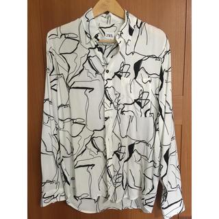 ZARA - ZARA ザラ アブストラクトプリントシャツ メンズ 欧米Mサイズ 白