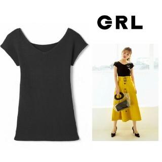 GRL - 【完売品】新作新品  GRL  Vネックニットトップス ブラック