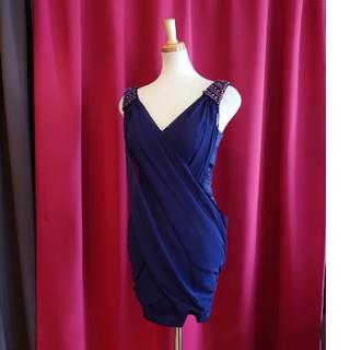 ジュエルズ(JEWELS)のJ17206 新品 S ドレス Jewels ネイビー シフォン パール クロス(ミニドレス)