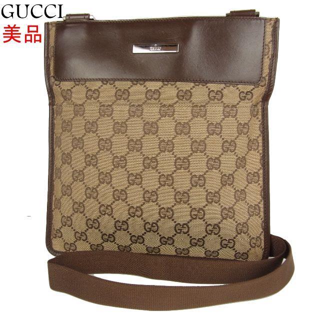 Gucci - グッチ 美品 GG キャンバス×レザー 斜め掛け ショルダー バッグの通販