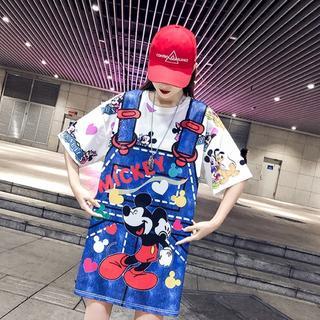 【即購入OK】大きいサイズ ジャンスカプリントミッキーTシャツ (Tシャツ(半袖/袖なし))