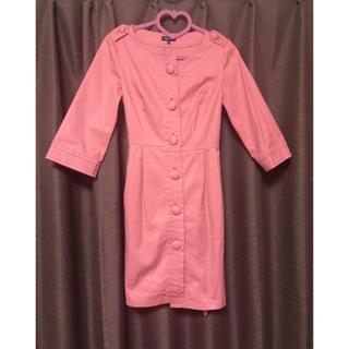 インディヴィ(INDIVI)のINDVI トレンチコート 春色 ノーカラーコート ピンク スプリングコート(トレンチコート)