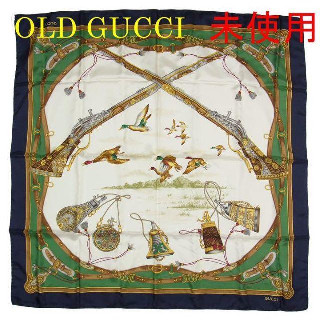 Gucci - オールド グッチ 未使用 88cm ダックハンティング シルク 大判 スカーフの通販