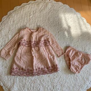babyGAP - スカラップ ワンピース 桜色 80サイズbaby  gap