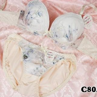 SE07★C80 L★美胸ブラ ショーツ Wカップ ジャガード クリーム(ブラ&ショーツセット)