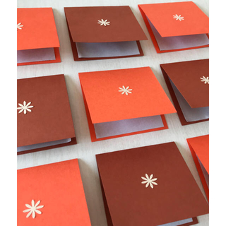 メッセージカード オレンジ×茶色 12枚セット(カード/レター/ラッピング)