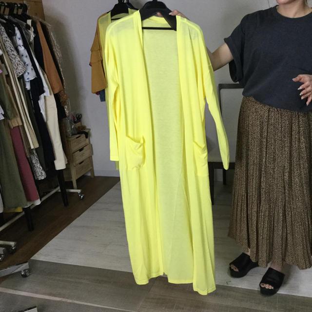 【同梱限定】ロングuvカットカーディガン 黄色 レディースのトップス(カーディガン)の商品写真