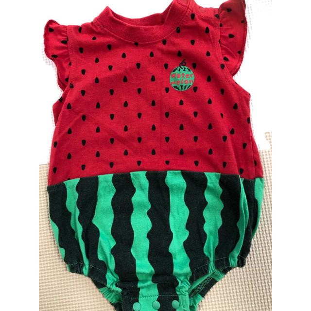 西松屋(ニシマツヤ)のロンパース  スイカ 70  キッズ/ベビー/マタニティのベビー服(~85cm)(ロンパース)の商品写真