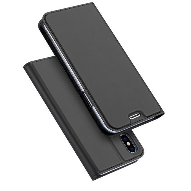 ダークグレー iPhoneX シンプル 手帳型 ケース スマホ/家電/カメラのスマホアクセサリー(iPhoneケース)の商品写真