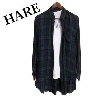 HARE - HARE ロングチェックシャツ ロングシャツ ブラックウォッチ柄チェックシャツ