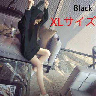 うさみみパーカー(黒XL) オルチャン(パーカー)