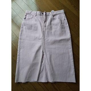 ザラ(ZARA)のザラデニムスカート薄いパープルLサイズ(ひざ丈スカート)