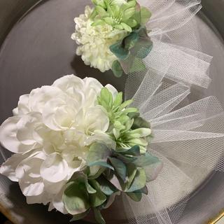 toytoy590 親子コサージュセット【白アースブルー】入学式 発表会 結婚式(コサージュ/ブローチ)