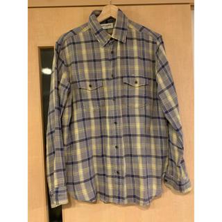 サンローラン(Saint Laurent)のSAINT LAURENT ダメージ加工オーバーサイズチェックシャツ (Tシャツ/カットソー(七分/長袖))
