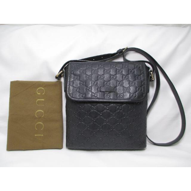 Gucci - 超美品 GUCCI グッチ シマブラック ショルダーバッグ 斜め掛け GG黒の通販