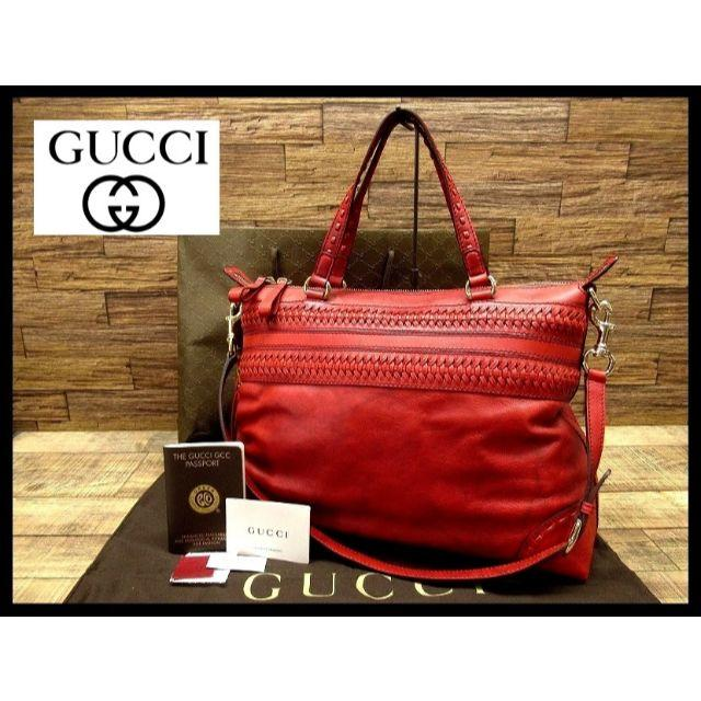 Gucci - 入手困難 美品 グッチ GCC バンブー レザー ショルダー ハンド バッグ 赤の通販