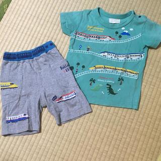 マザウェイズ(motherways)のマザウェイズ新幹線柄Tシャツ&ズボン(Tシャツ/カットソー)