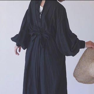 ビューティアンドユースユナイテッドアローズ(BEAUTY&YOUTH UNITED ARROWS)のARGUE argue dyed linen dress ブラック 美品(ロングワンピース/マキシワンピース)